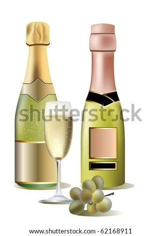Two bottles of wine, grape and a glass. Raster version. Vector version is in my gallery.