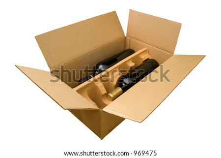 Two bottles of wine in a box from the wineclub complete with clipping path.