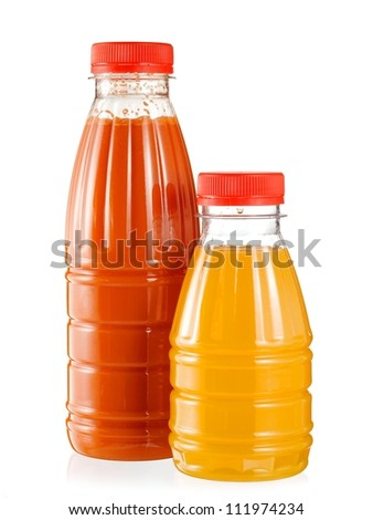 Two bottles with orange and carrot juice