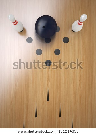 Two Bowling pin on hardwood floor, split position.
