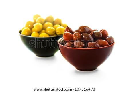 Two bowls of olives, shallow depth of field