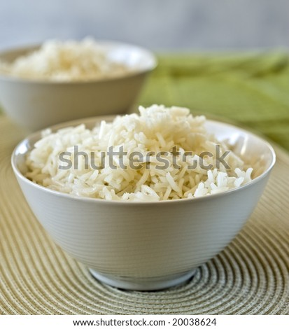two bowls of plain rice in shallow depth of field