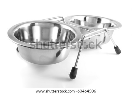 Two bowls with dog food and water, isolated on  white background.