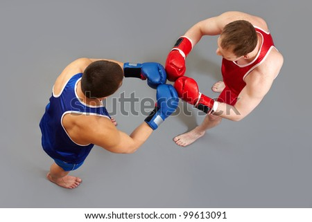 Two boxers greeting each other before the fight