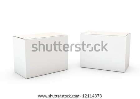 Two boxes isolated over a white background.