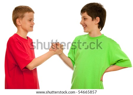 Two boys are greeting one another; isolated on the white background