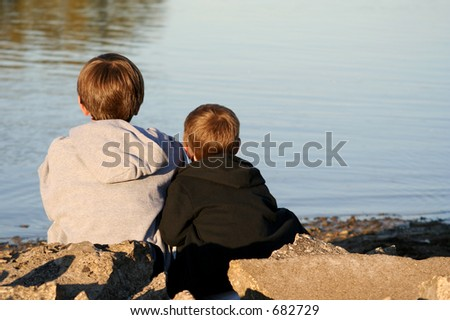Two Boys by the Lake