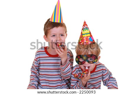 two boys celebrate birthday isolated on white - stock photo