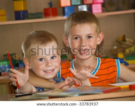 two boys in a children's room