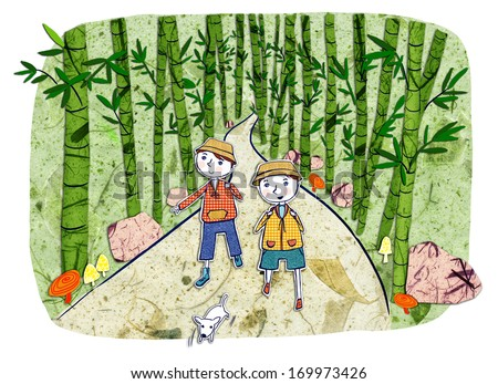 Two boys taking a stroll with their dog through a pathway of bamboo.