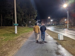 two boys. two friends are walking in the city at night back view photo