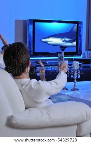 Two boys watching underwater documentary on TV
