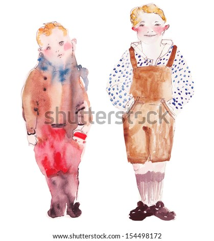 Two boys watercolor illustration