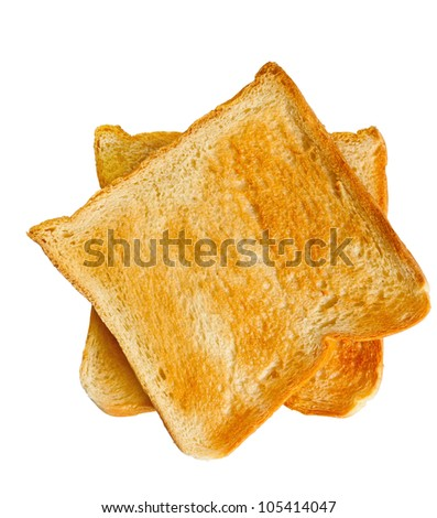 Two bread slice toasts in white back ground. - stock photo