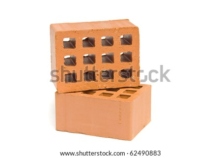 Two bricks top and side view over white background