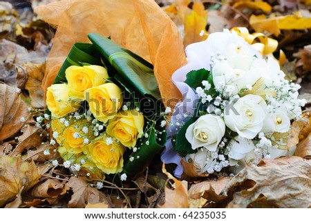 white and yellow rose bouquets. of white and yellow roses