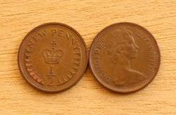Two British Decimal Halfpenny Coins