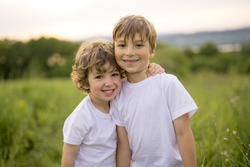 Two Brother play together in a green meadow