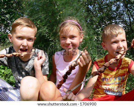Two brothers and sister on family picnic