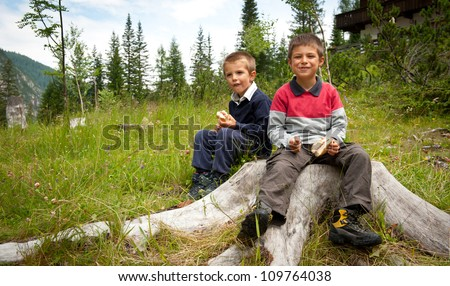 Two brothers having lunch with a sandwich in the mountains.