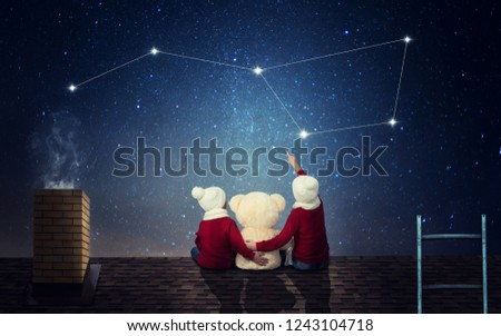 Two brothers sit at night on the roof with a toy bear and look at the constellation Ursa Major.