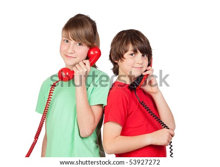 Two brothers with red telephone isolated on white background