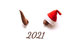 Two brown bull horns break through the white background.On one horn is a Santa Claus hat.Bull as a symbol of the New year 2021.The inscription of a 2021.Creative New Year and Christmas concept.