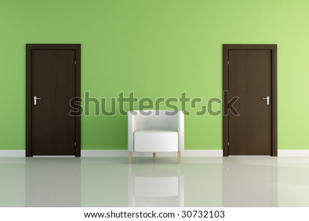 two brown wooden door and one white armchair -rendering