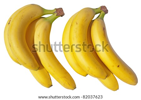 Two bunches of bananas isolated on a white background.