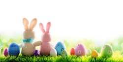 Two Bunnies With Decorated Eggs Isolated On Sunny Meadow - Easter Holiday Border