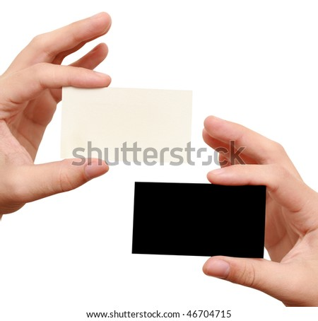 two business cards - white and black