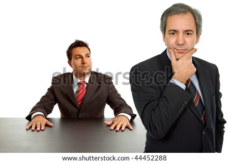two business men boss and worker on a desk, isolated