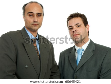 two business men portrait isolated on white background