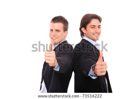 two business men portrait thumb up, isolated on white