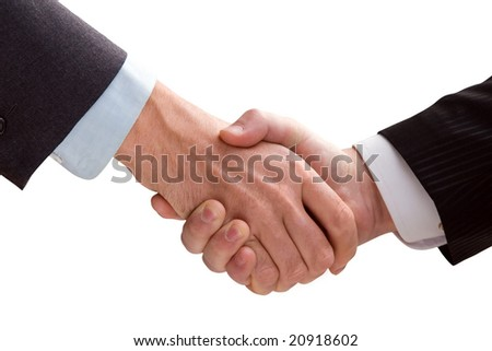 Two business men shaking hands. White background.