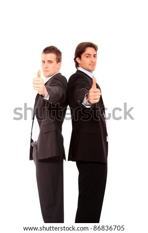 Two business men standing back to back thumb up  isolated