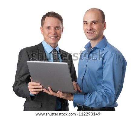 Two business men with laptop computer. Isolated on white