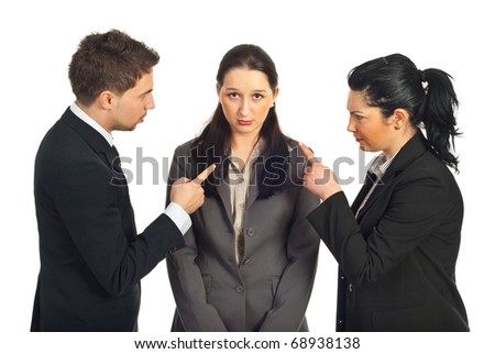 Two business people accuse her colleague and pointing to her  isolated on white background