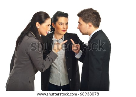Two business people arguing and other businesswoman trying to settling the  conflict isolated on white background