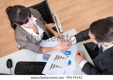 Two business people in the office at the meeting shaking hands