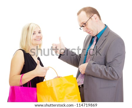 Two business people on a shopping tour - stock photo