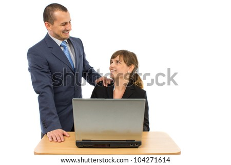 two business people showing happy expression and smiling. concept for team work, business, and work related