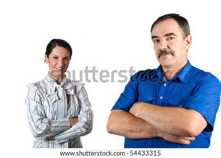 Two business people standing both with arms crossed  mature businessman in front of camera,selective focus on him isolated on white background