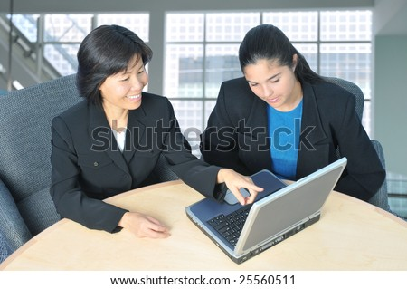 Two Business Women in Office Setting Using Laptop