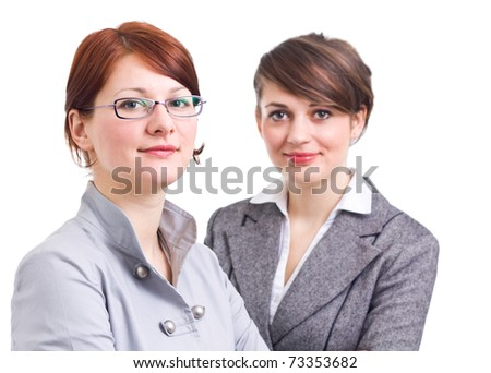 two business women on white background