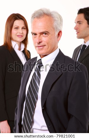 two businessman and one businesswoman cut out isolated on white background