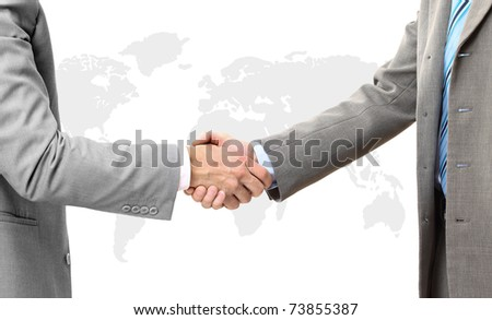 Two businessman giving handshake on white background
