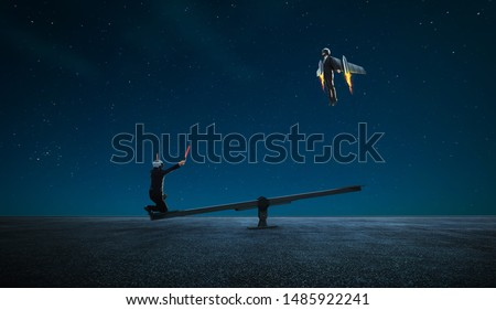 Two businessman in rocket suit try to fly with lever help ,business teamwork with success surreal concept .
