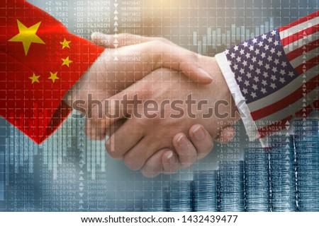 two businessman shake hands, china-usa trade war Сток-фото ©