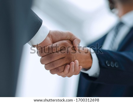 Two businessman shaking hands greeting each other Сток-фото ©
